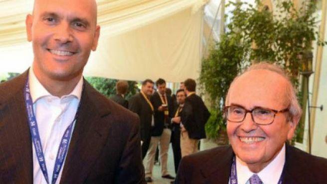 Francesco Merloni, presidente onorario dell'Ariston Thermo, con il figlio Paolo