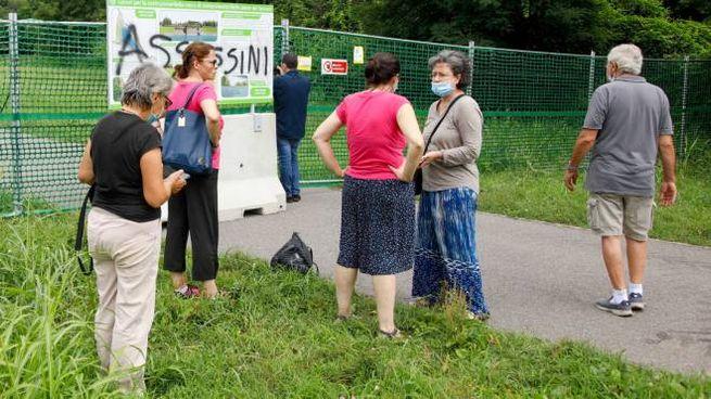 Una delle proteste contro le vasche di laminazione