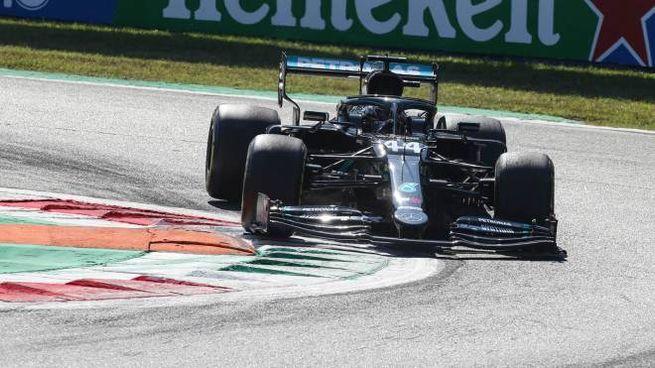 Lewis Hamilton sulla Mercedes-AMG Petronas ha dominato le qualifiche a Monza (Ansa)