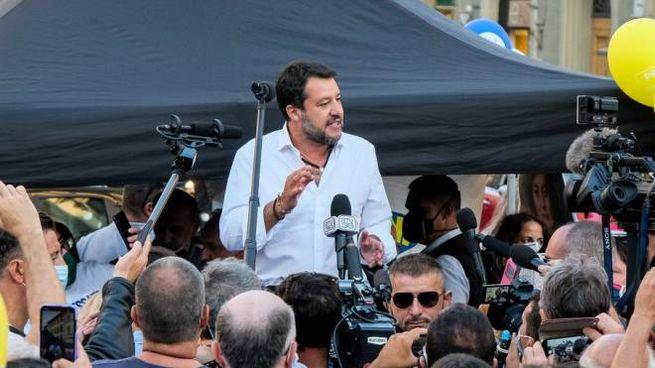 Matteo Salvini in piazza Beccaria a Firenze (New Press Photo)