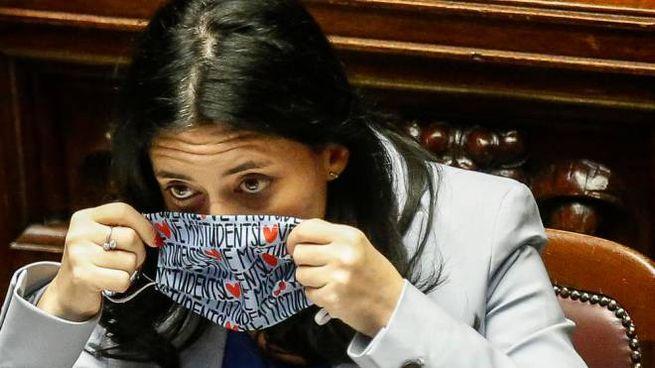 Lucia Azzolina indossa una mascherina con la scritta'' love my students''  (Ansa)