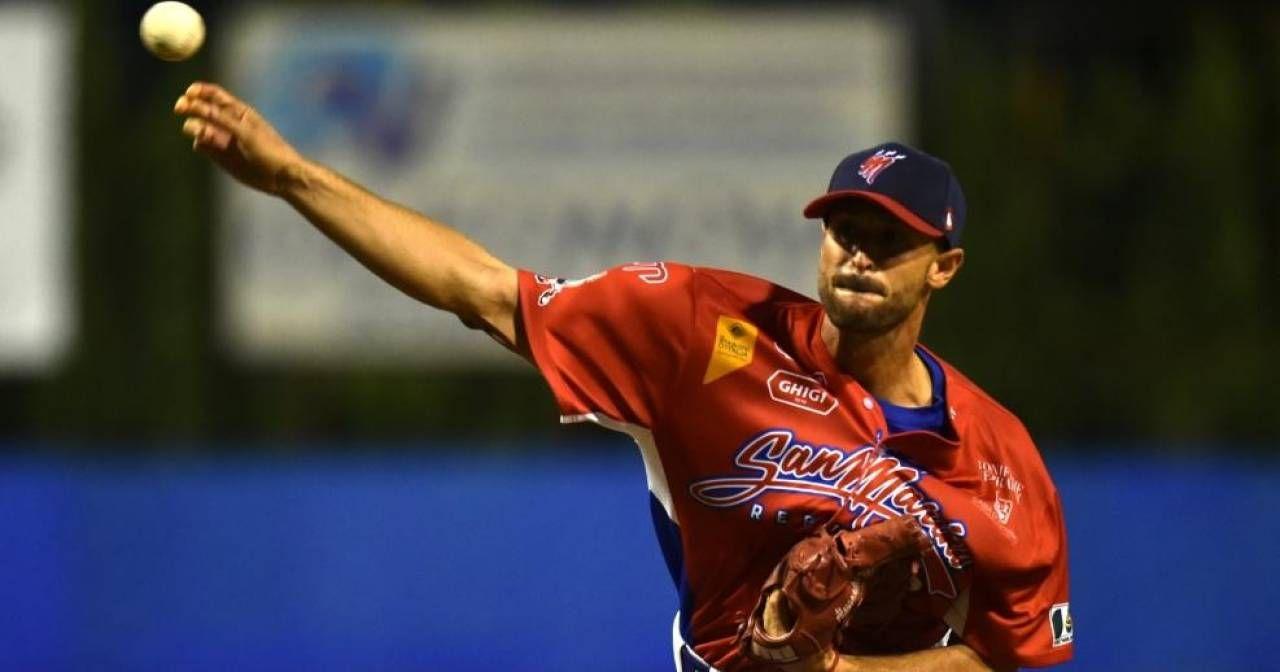 Alessandro Maestri, 35 anni, sarà il pitcher partente domani sera e nell'eventuale garacinque