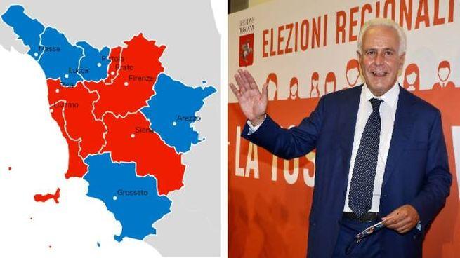 Giani e, a fianco, la Toscana: in rosso le province vinte dal centrosinistra