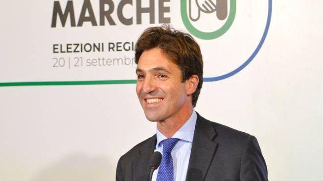 Francesco Acquaroli alla conferenza stampa post voto
