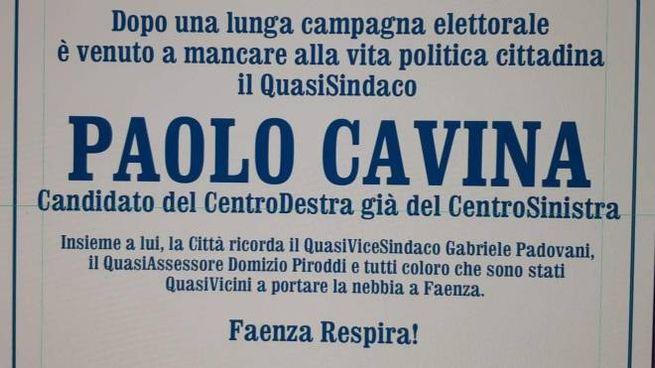 Il finto manifesto funebre a Faenza