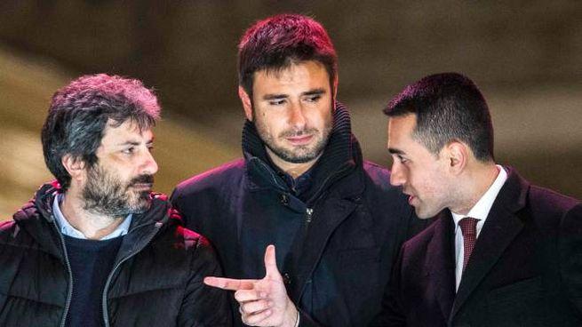 Roberto Fico, Alessandro Di Battista e Luigi Di Maio (ImagoE)