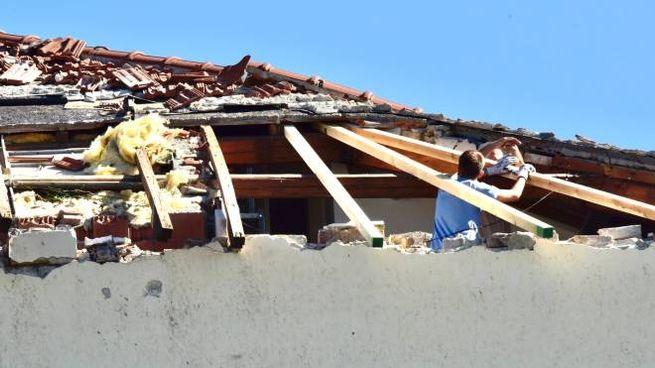 Danni del maltempo a Rosignano (foto Novi)