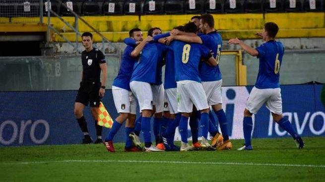 La gioia dell'Italia under 21 dopo i gol all'Irlanda