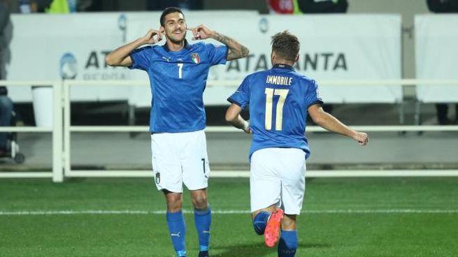 Italia-Olanda 1-1, l'esultanza di Lorenzo Pellegrini dopo il gol (Ansa)
