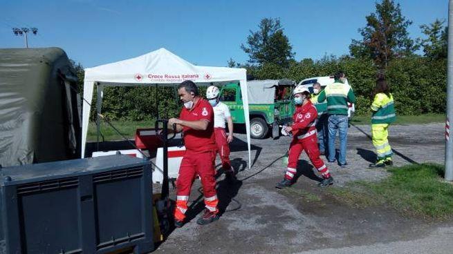 Il tendone della Croce Rossa Italiana