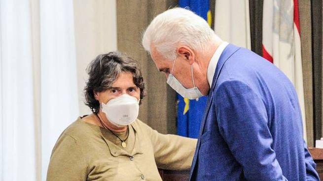 Eugenio Giani con Stefania Saccardi, consigliera regionale Italia Viva (New Press Photo)