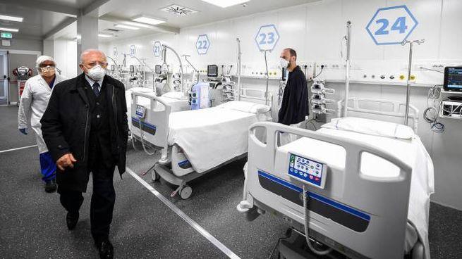 De Luca in visita al Covid center dell'Ospedale del Mare a Ponticelli (Ansa)