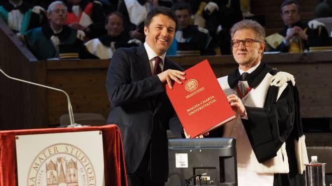 Il premier Matteo Renzi e il rettore Ivano Dionigi (FotoSchicchi)