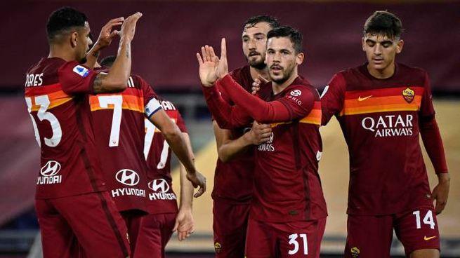 I giocatori della Roma (Ansa)