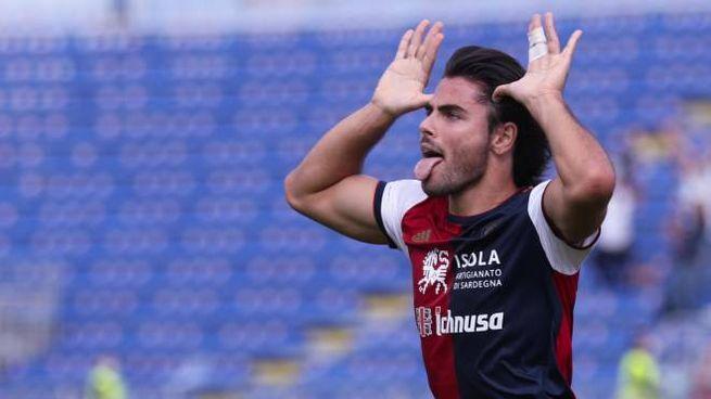 Cagliari-Crotone, l'esultanza dopo il gol di Riccardo Sottil (Ansa)