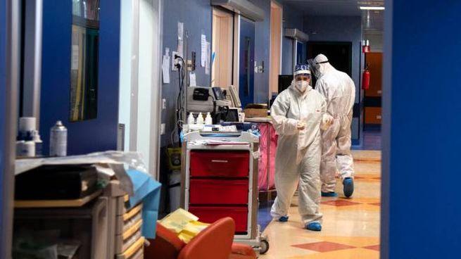 Covid, la terapia intensiva dell'ospedale di Casalpalocco (Ansa)