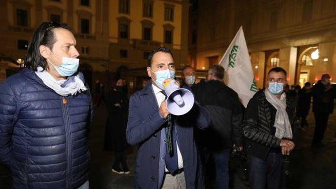 Un momento della protesta di Confesercenti (New Press Photo)