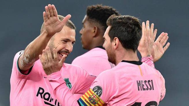 Juventus-Barcellona, l'esultanza di Messi dopo il gol dello 0-2 (Ansa)