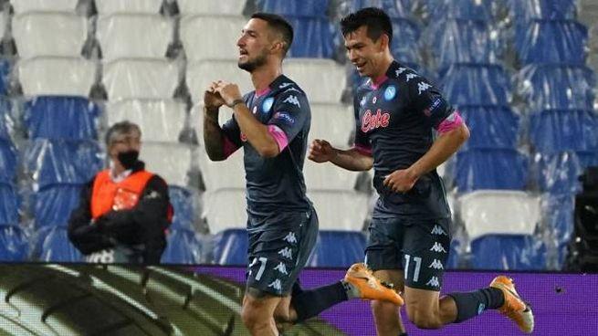 L'esultanza di Politano dopo il gol alla Real Sociedad (Ansa)