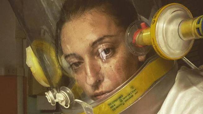 Clotilde Armellini, 37 anni, all'ospedale di Alessandria con il casco a ossigeno