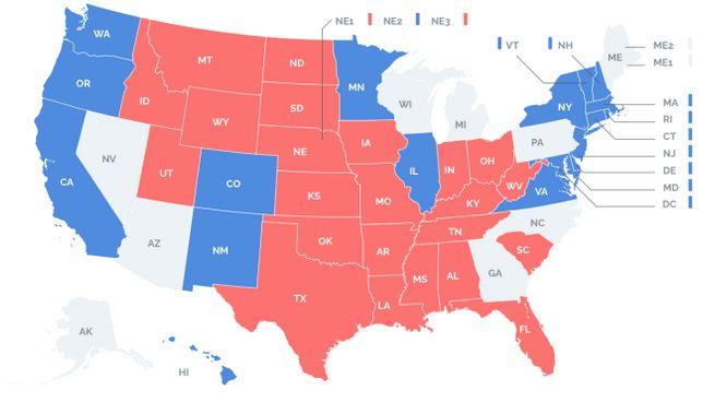 Elezioni Usa 2020, la mappa