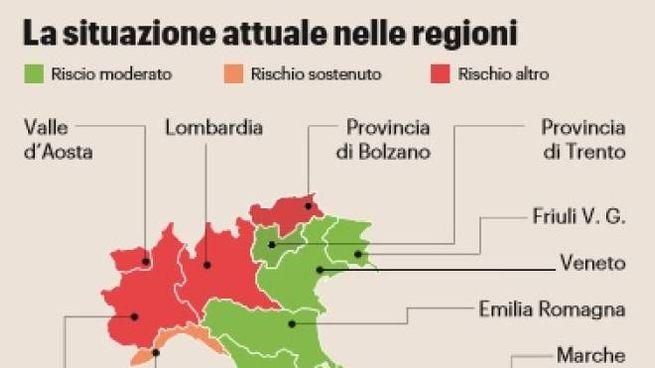 La Cartina Del Piemonte.Lockdown Lombardia Rossa Di Rabbia La Mappa Cronaca Ilgiorno It