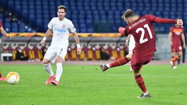 Roma-Cluj, il gol del 4-0 segnato da Borja Mayoral (Ansa)