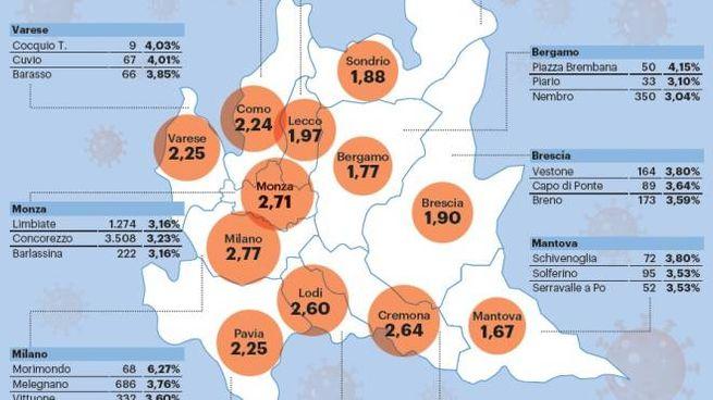 la mappa dei focolai in Lombardia