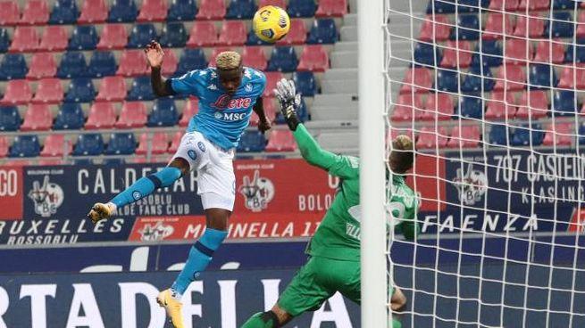 Osimhen in gol contro il Bologna (Ansa)
