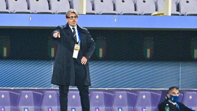 Alberico Evani, ct dell'Italia nella notte del 4-0 all'Estonia (Ansa)