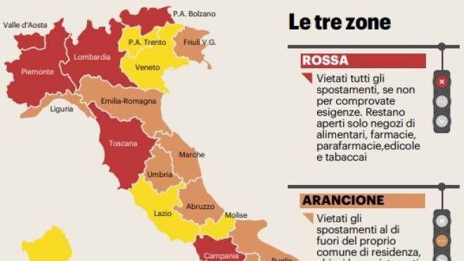 Cartina Italia Suddivisa In Regioni.Regioni Italiane La Mappa E I Colori Covid Cronaca Quotidiano Net