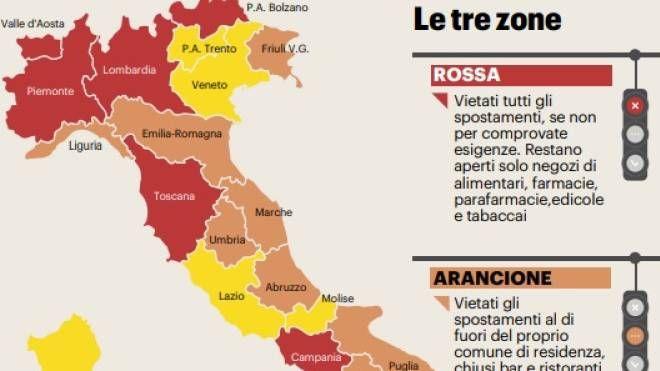 Cartina Lombardia E Province.Zona Arancione Ora La Lombardia Ci Crede La Mappa Cronaca Ilgiorno It
