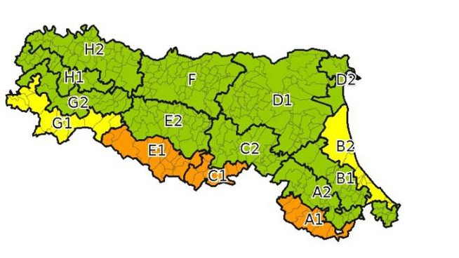 L'allerta meteo dell'Arpa Emilia Romagna