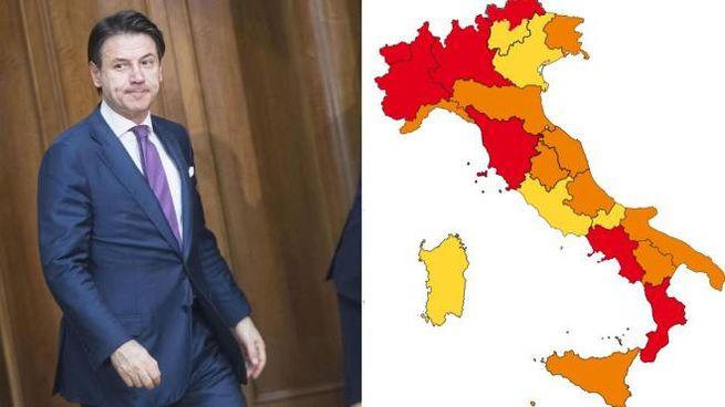 Giuseppe Conte e la mappa dell'Italia 'colorata'