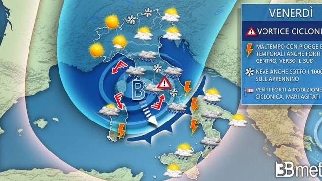 Previsioni meteo, maltempo da venerdì (3bmeteo.com)