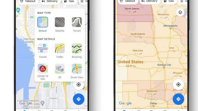 """Google Maps ha aggiunto il livello """"informazioni sul Covid-19"""" - Foto: Google"""