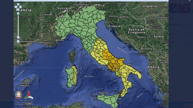 Protezione civile: l'allerta meteo in Italia per il 20 novembre