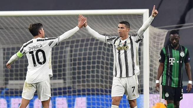 L'esultanza di Ronaldo dopo il gol al Ferencvaros