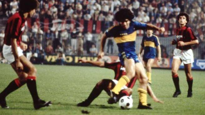 Maradona con la maglia del Boca Junior