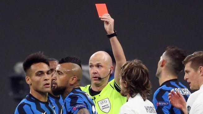 Vidal espulso, lascia i suoi in 10 contro il Real Madrid (Ansa)