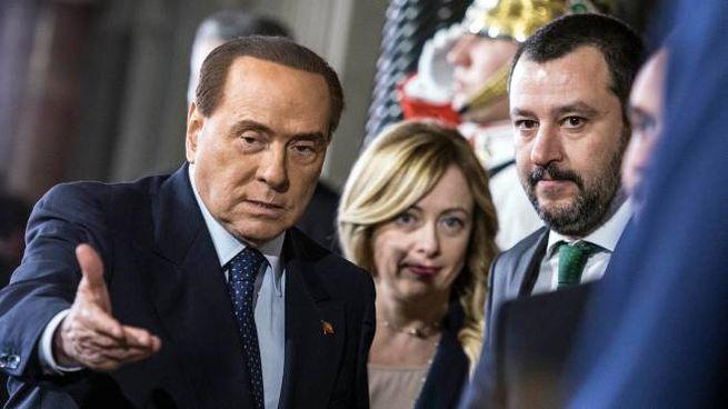 Silvio Berlusconi, Giorgia Meloni e Matteo Salvini (Imagoeconomica)