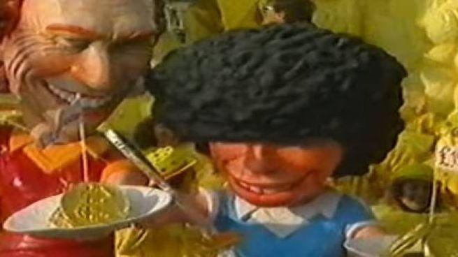 Un frame del video del carnevale di Viareggio su Maradona