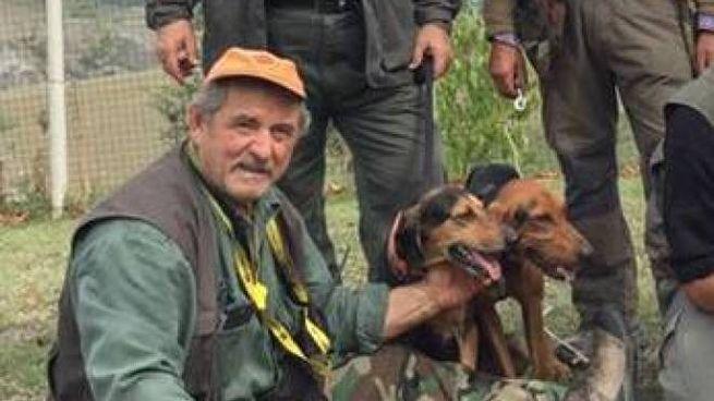 Giuseppe Capece in una battuta di caccia, viveva da anni a Meldola