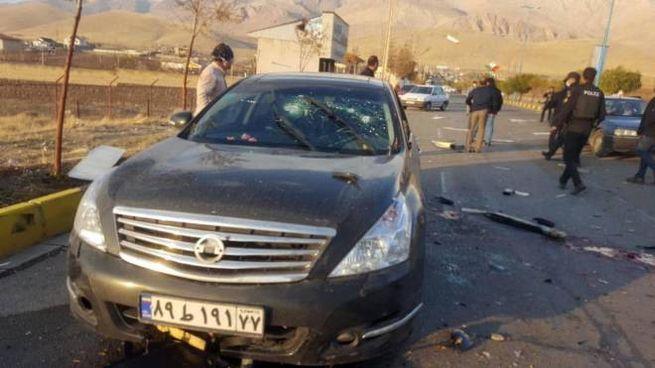 La scena dell'attacco in cui è rimasto ucciso Mohsen Fakhrizadeh (Ansa)