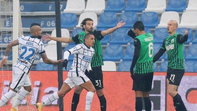 Sanchez in gol contro il Sassuolo (Ansa)