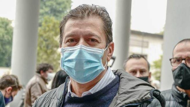Alfredo Zini durante una protesta
