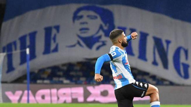 Napoli-Roma, Lorenzo Insigne dopo il gol dell'1-0 (Ansa)