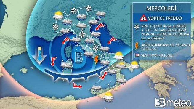 Cartina Meteorologica Dell Italia.Neve Previsioni Meteo Ecco Le Citta A Rischio Da Cuneo A Bologna Meteo Quotidiano Net