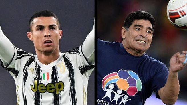 Cristiano Ronaldo e Diego Armando Maradona (Ansa)