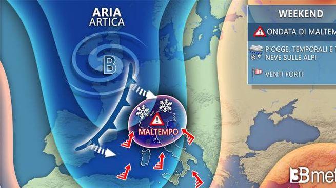 Cartina Meteorologica Dell Italia.Previsioni Meteo Diluvio Fino All Immacolata Neve 2 Metri Sulle Alpi Rischio Criticita Meteo